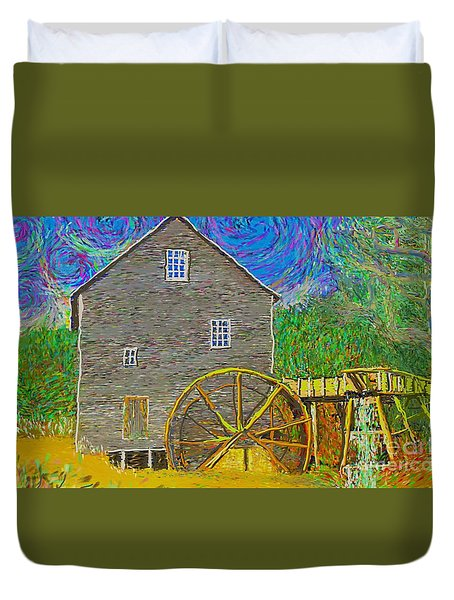 Duvet Cover featuring the painting Water Wheel  by Hidden Mountain