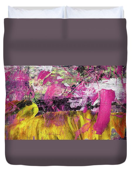 Whatever Makes You Happy - Large Pink And Yellow Abstract Painting Duvet Cover