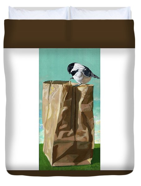 Duvet Cover featuring the painting What's In The Bag Original Painting by Linda Apple