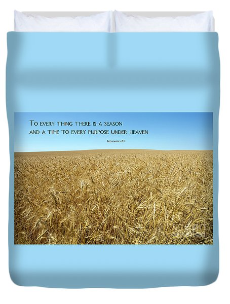 Duvet Cover featuring the photograph Wheat Field Harvest Season by Steven Frame