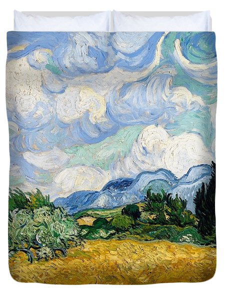 Duvet Cover featuring the painting Wheatfield With Cypresses by Van Gogh