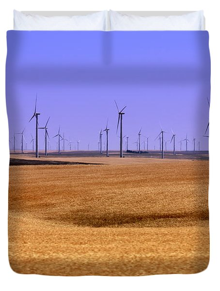 Wheat Fields And Wind Turbines Duvet Cover by Carol Groenen