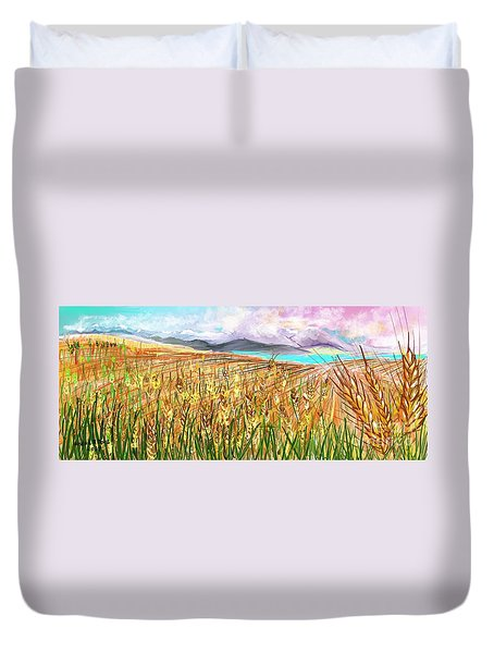 Wheat Landscape Duvet Cover