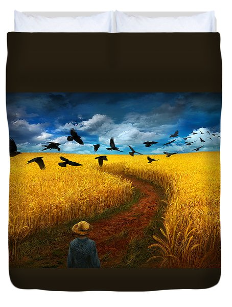 Wheatfield With Crows Duvet Cover by Alex Ruiz