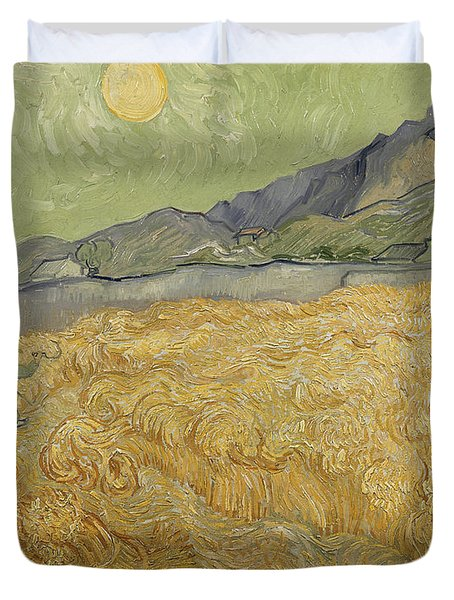 Wheatfield With Reaper Duvet Cover by Vincent Van Gogh