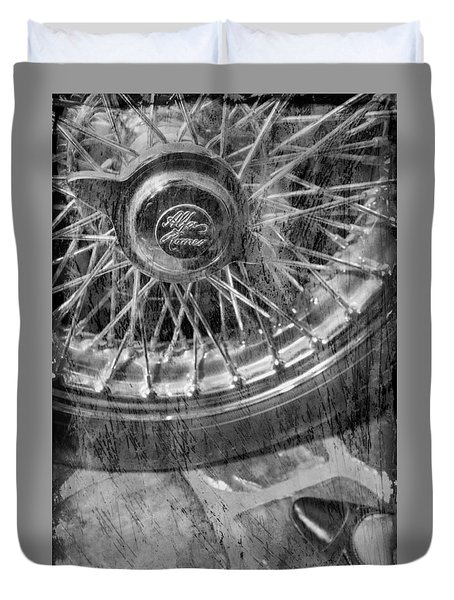 Duvet Cover featuring the photograph Wheel Of An Old Car. by Andrey  Godyaykin