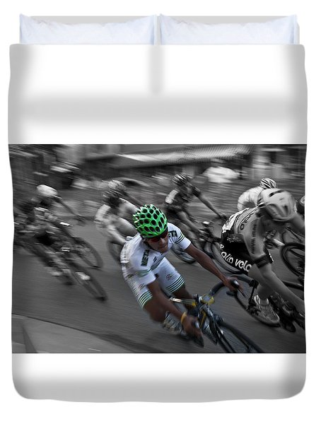 Duvet Cover featuring the photograph Wheeling On by Deborah Klubertanz