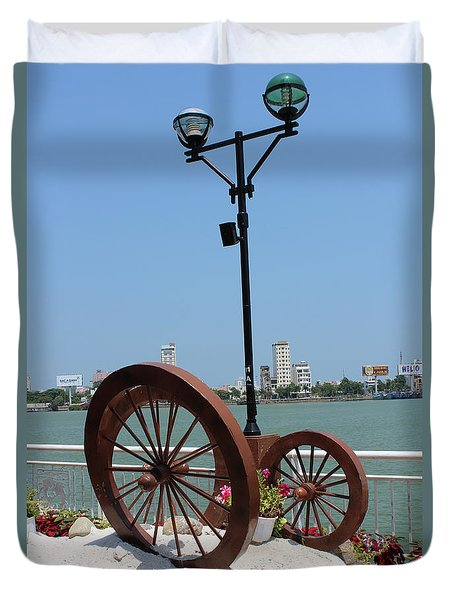 Wheels By The Water Duvet Cover