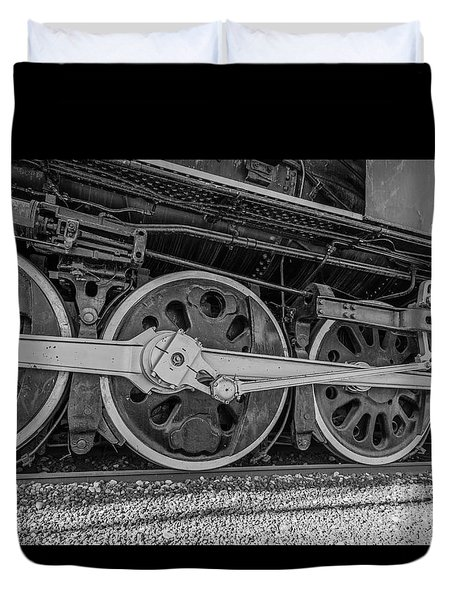 Wheels On A Locomotive Duvet Cover by Sue Smith