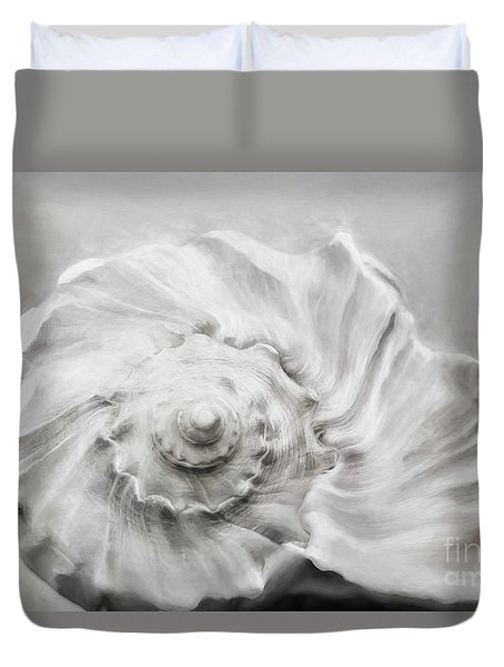 Duvet Cover featuring the photograph Whelk In Black And White by Benanne Stiens