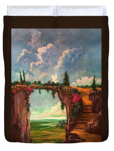 When Angels Garden In Heaven Duvet Cover
