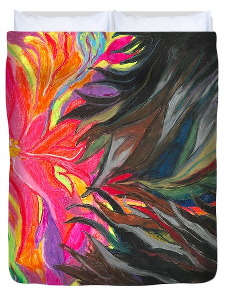 Duvet Cover featuring the painting When Pain Comes by Ania M Milo