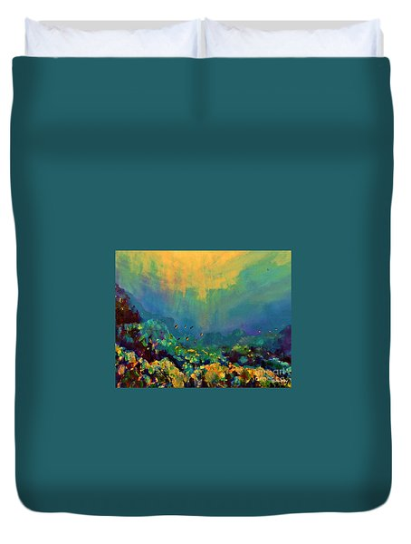 When The Sun Is Looking Into The Sea Duvet Cover by AmaS Art