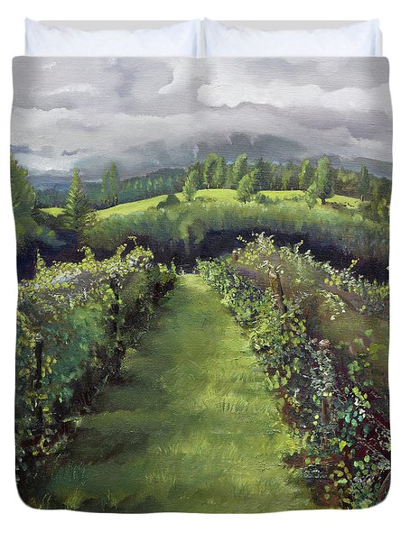 Duvet Cover featuring the painting When The Vines Rest At Otts Farms And Vineyard by Jan Dappen