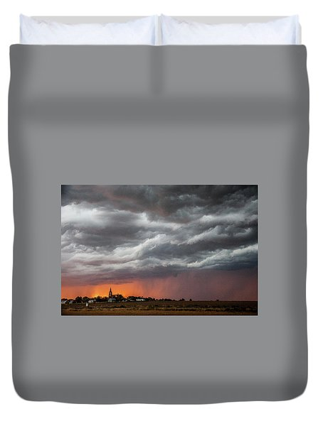 Duvet Cover featuring the photograph When Trouble Rises.....  by Shirley Heier