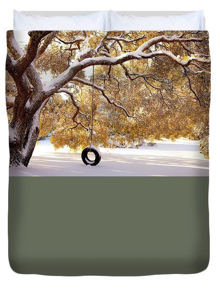 Duvet Cover featuring the photograph When Winter Blooms by Karen Wiles