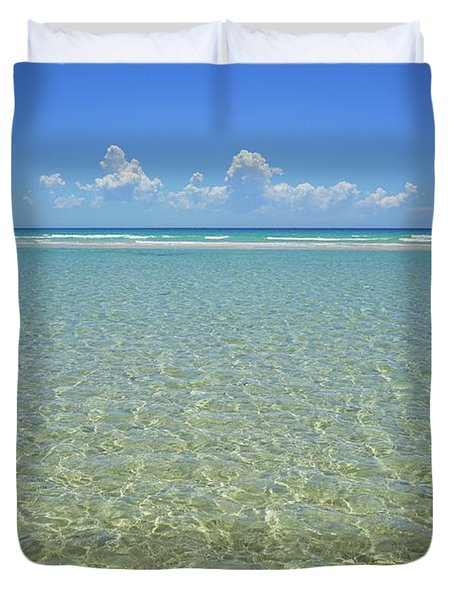 Where Crystal Clear Ocean Waters Meet The Sky Duvet Cover