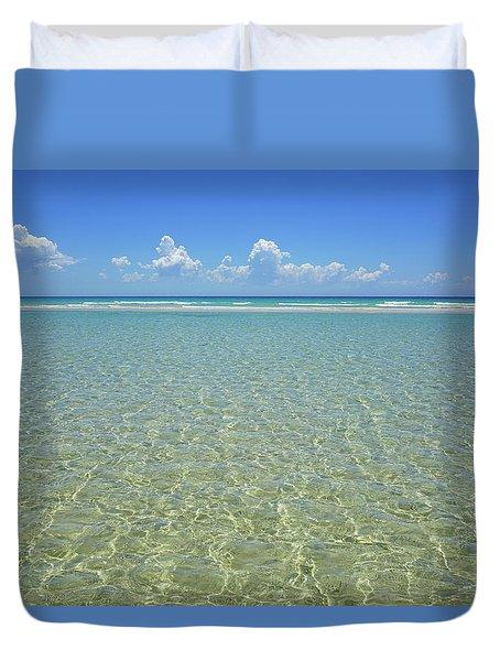 Where Crystal Clear Ocean Waters Meet The Sky Duvet Cover