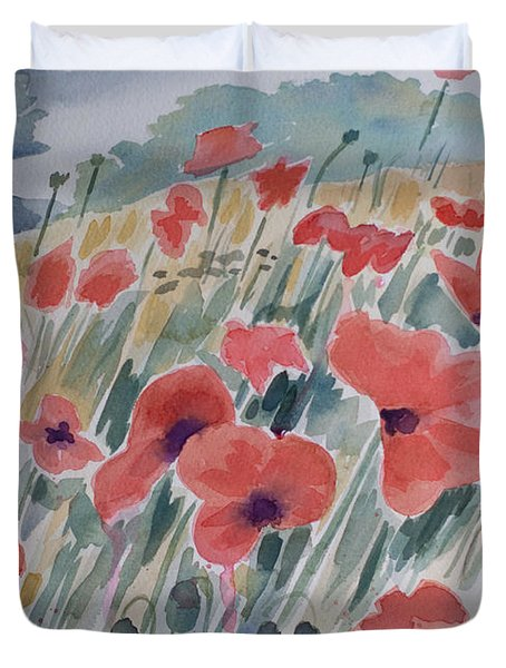 Where Poppies Grow Duvet Cover by Barbara McMahon