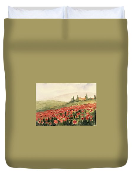 Where Poppies Grow Duvet Cover