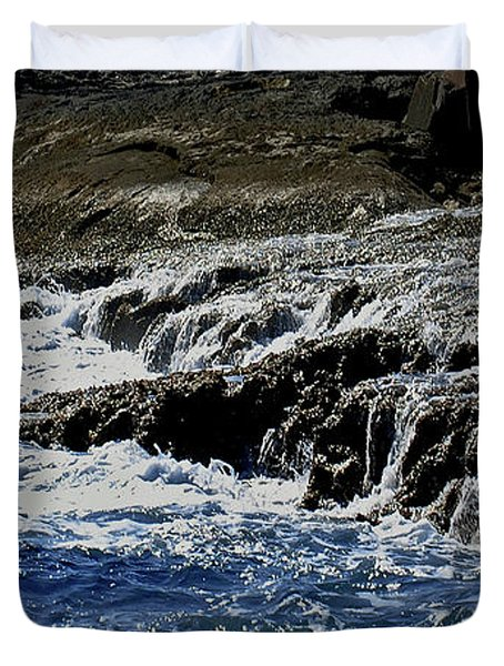 Where Sea And Shore Become One Duvet Cover by DigiArt Diaries by Vicky B Fuller