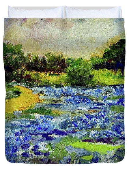 Where The Beautiful Bluebonnets Grow Duvet Cover