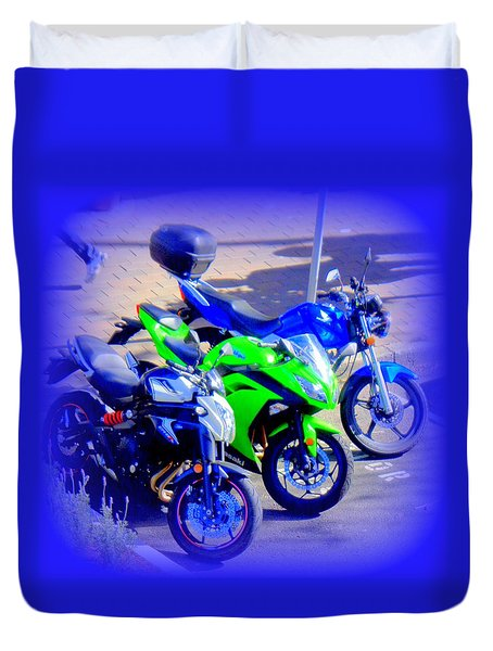 Where The Bikies Are Duvet Cover