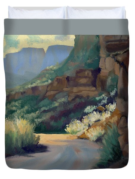 Where The Road Bends Duvet Cover