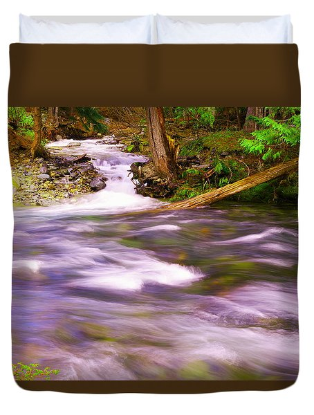 Duvet Cover featuring the photograph Where The Stream Meets The River by Jeff Swan