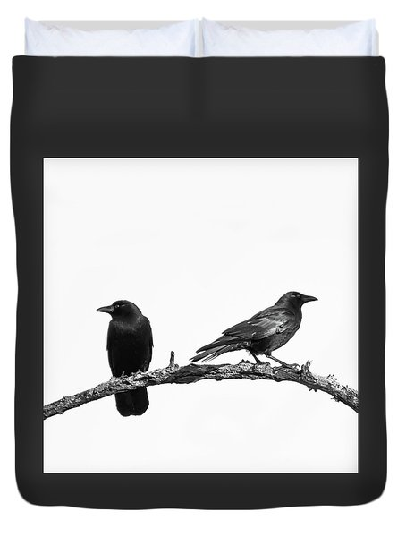 Which Way Two Black Crows On White Square Duvet Cover