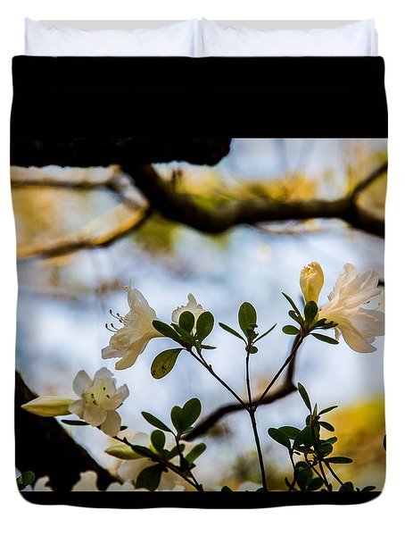 Whie Azaleas Under A Dogwood Tree Duvet Cover