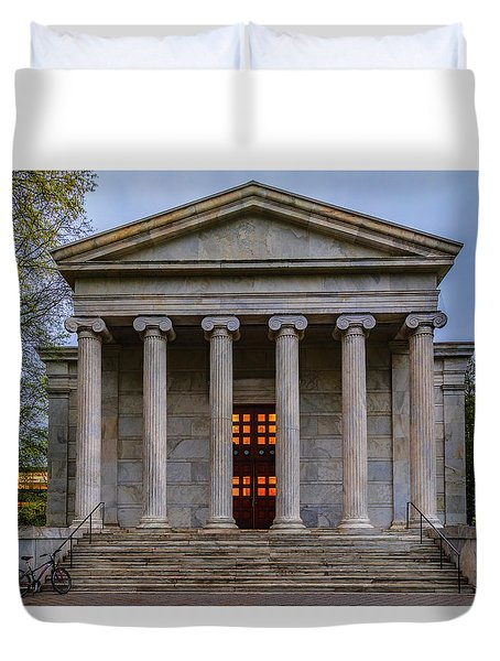 Duvet Cover featuring the photograph Whig Hall Princeton University by Susan Candelario