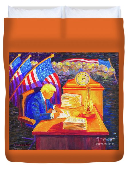 While America Sleeps - President Donald Trump Working At His Desk By Bertram Poole Duvet Cover by Thomas Bertram POOLE