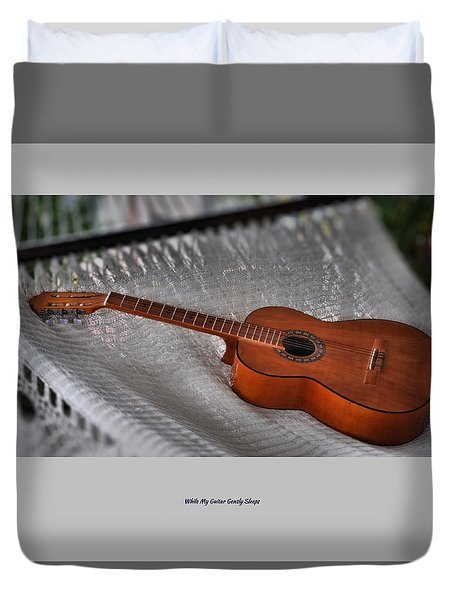 Duvet Cover featuring the photograph While My Guitar Gently Sleeps by Jim Walls PhotoArtist