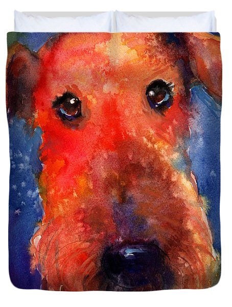 Whimsical Airedale Dog Painting Duvet Cover
