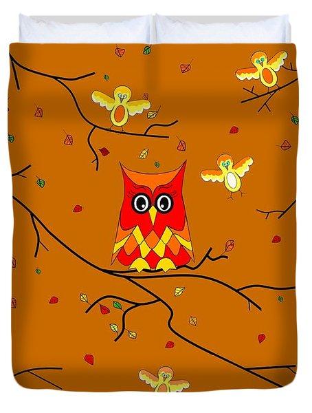 Whimsical Autumn Colors - Birds Owls Duvet Cover