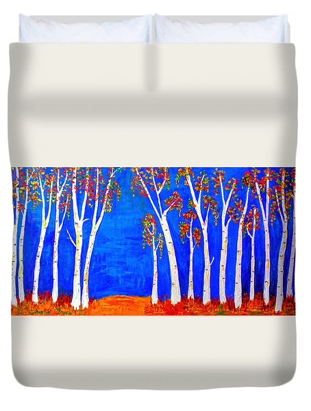 Whimsical Birch Trees Duvet Cover