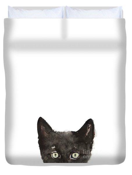 Whimsical Cat Poster, Funny Animal Black Cat Drawing, Peeking Cat Art Print, Animals Painting Duvet Cover