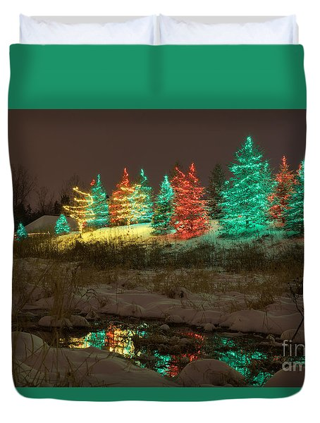 Whimsical Christmas Lights Duvet Cover