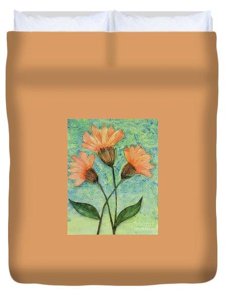 Whimsical Orange Flowers - Duvet Cover by Helen Campbell