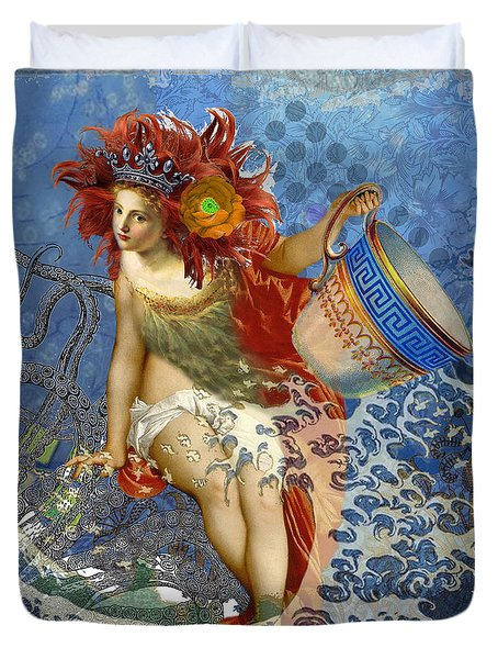 Mermaid Aquarius Vintage Whimsical Gothic Funny Duvet Cover by Mary Hubley