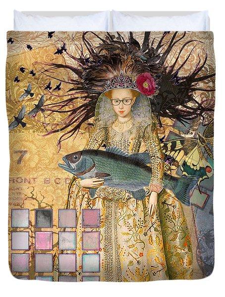 Whimsical Pisces Woman Renaissance Fishing Gothic Duvet Cover