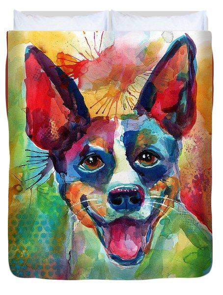 Whimsical Rat Terrier Dog Painting Duvet Cover by Svetlana Novikova