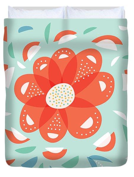 Whimsical Red Flower Duvet Cover