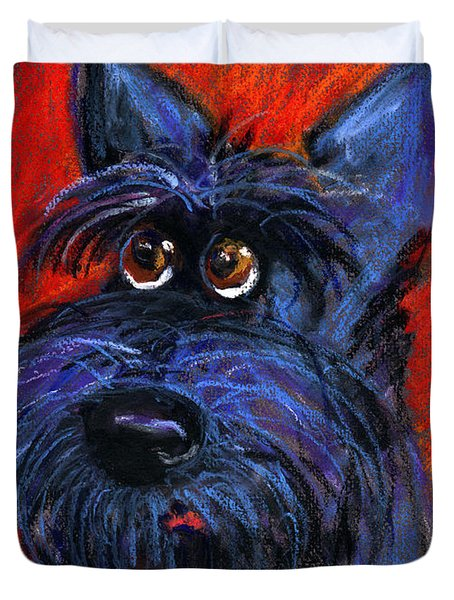 whimsical Schnauzer dog painting Duvet Cover