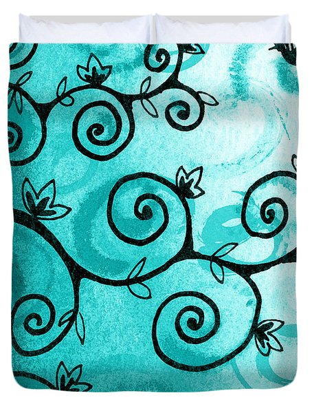 Whimsical Tree And A Hummingbird  Duvet Cover