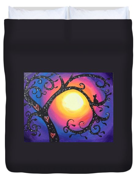Whimsical Tree At Sunset Duvet Cover