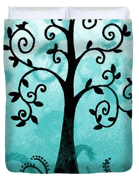 Whimsical Tree With Birds Duvet Cover