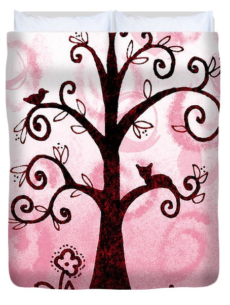 Whimsical Tree With Cat And Bird Duvet Cover