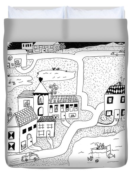 Whimsy Town Duvet Cover